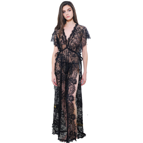 Long Black Lace Nightgown