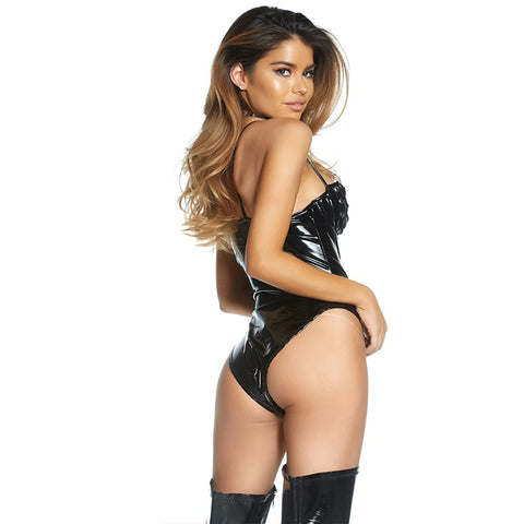 Sexy Faux Leather Open Bust Lace Up Teddy Bodysuit
