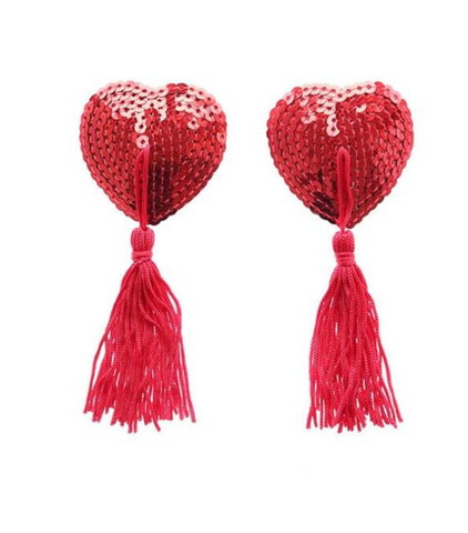 Red Hot Sequin Heart Nipple Tassels