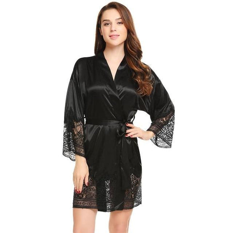 V-Neck Long Sleeve Kimono Style Satin Robe