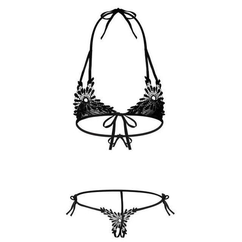 Ultra Sexy Embroidery Open Bra Crotchless Panty Set