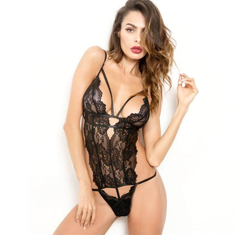 Sexy Deep V High Cut Lace Bodysuit