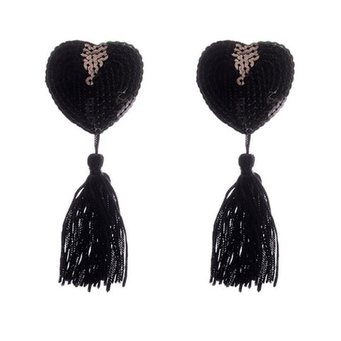 Black Sequin Heart Nipple Pastie