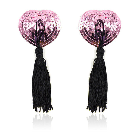 Black and Pink Sequin Heart Nipple Tassels