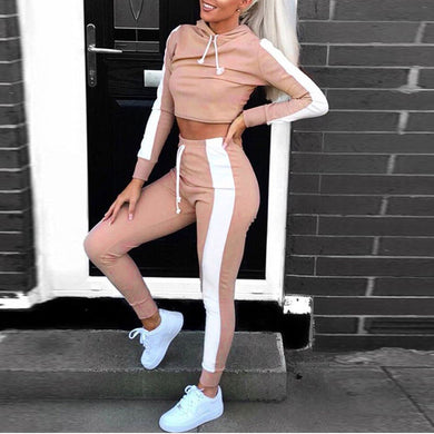 Glamaker Blush stripe casual long jumpsuit Women two-piece suit crop hoodies party jumpsuit Holiday sleeve jumpsuit overalls