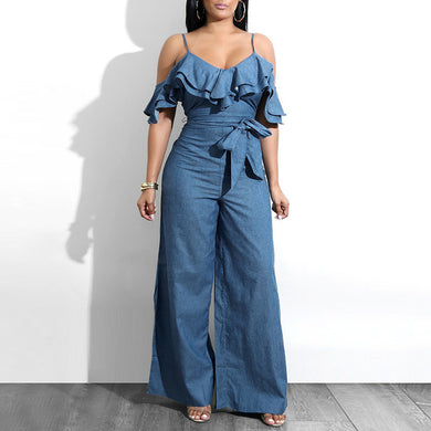 Glamaker Ruffle sash bow women jumpsuit Summer sexy jumpsuit overalls Streetwear high waist denim jumpsuits&rompers playsuit