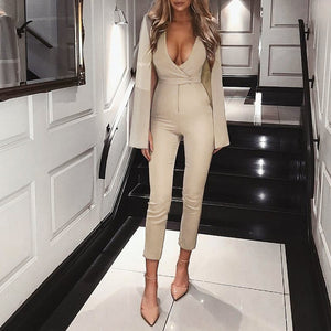 Glamaker Shrug deep v wrap sexy jumpsuit romper Casual khaki slim long playsuit jumpsuit Women autumn overalls winter jumpsuit