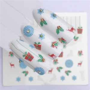 WUF Nail Art Nail sticker New Year Slider Tattoo Christmas Water Decal Santa Claus Snowman Full Wraps Designs Decals