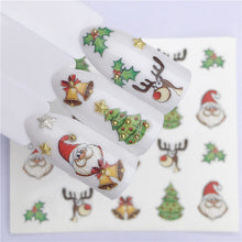 Load image into Gallery viewer, WUF Nail Art Nail sticker New Year Slider Tattoo Christmas Water Decal Santa Claus Snowman Full Wraps Designs Decals