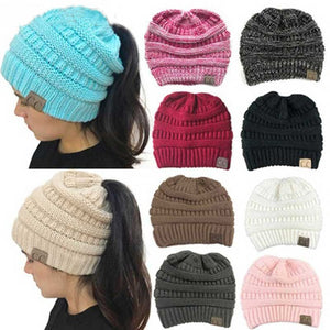 5e4450705b5f3 CC Ponytail Beanie Winter Hats For Women Crochet Knit Cap Skullies Beanies  Warm Caps Female Knitted Stylish Hat Ladies Fashion
