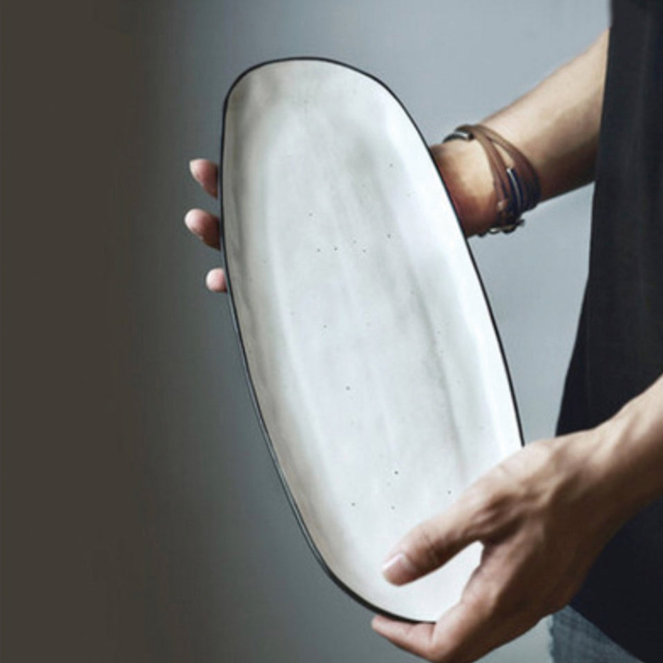 Handmade White Speckled Oval-Shaped Serving Platter