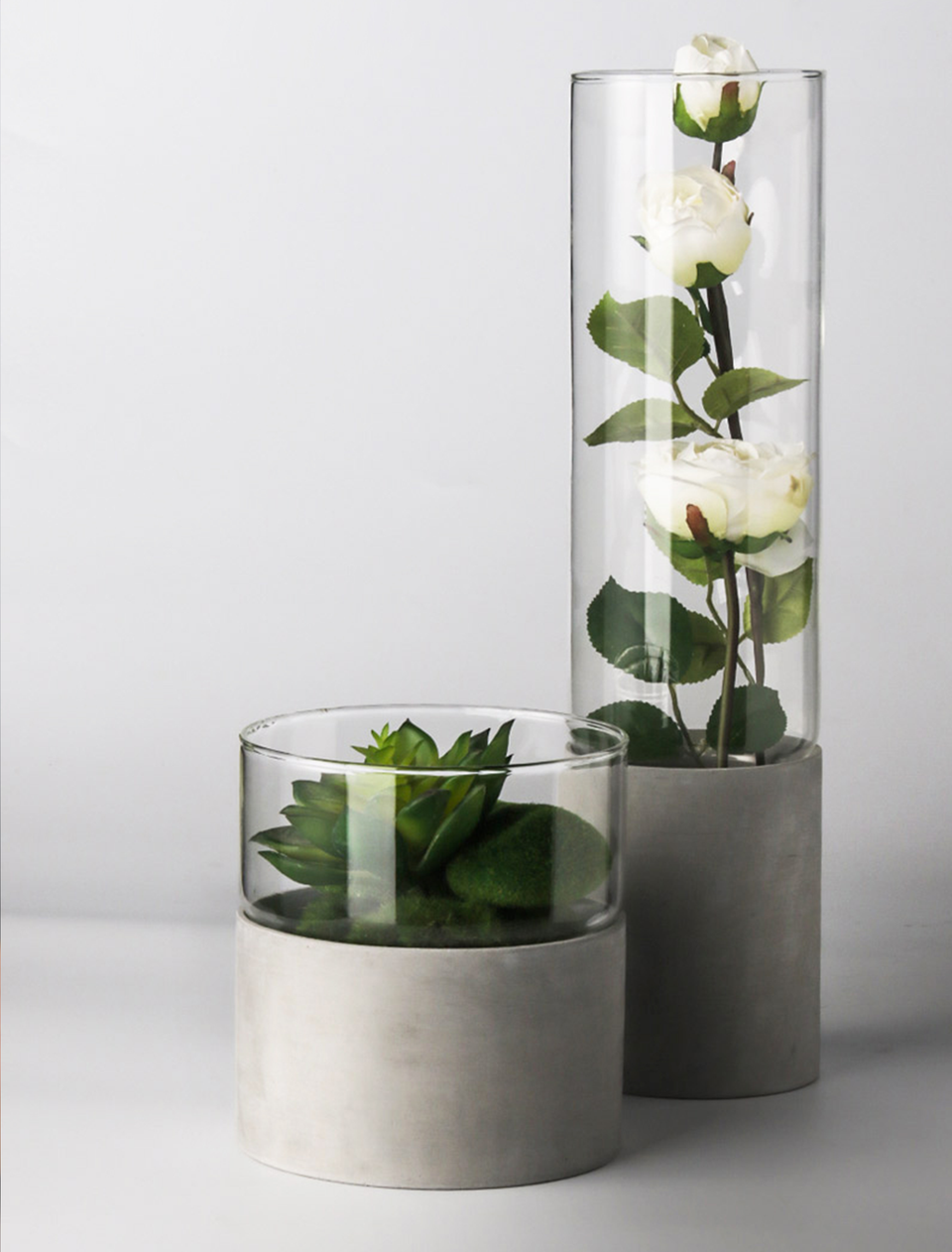 Best Seller: Modern Two-Tone Concrete and Glass Vase