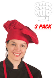 "HiLite 3 Pack Master Chef Mushroom Hat - Adjustable Velcro Closure - One Size Fit Most - 13"" Tall 110"