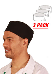 HiLite 3 Pack Master Chef Beanie Mesh Cool Vent Fabric - Unisex Hat - One Size Fit Most 130