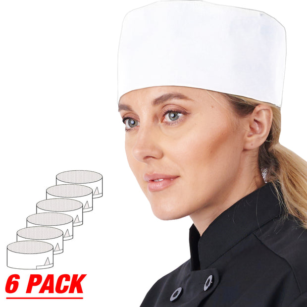 HiLite 6 Pack Master Chef Beanie Mesh Cool Vent Fabric - Unisex Hat - One Size Fit Most 130