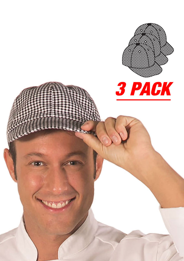 HiLite 3 Pack Chef Cap With Adjustable Velcro Closure For Chef Fast-food Chains and Restaurant And Day To Day Use 160CH