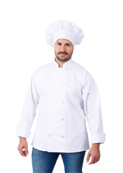 HILITE 6 Pack Classic Chef Coat Long Sleeve - White 550WH