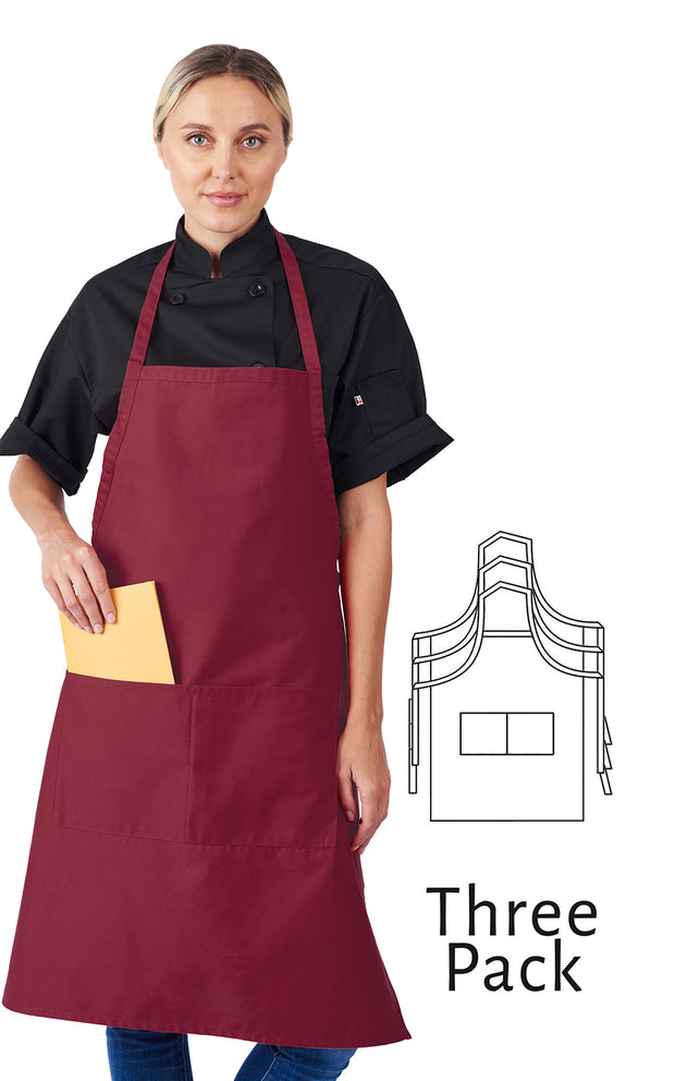 HiLite 3 Pack Fixed Neck Extra Long Bib Apron - Two Pockets - Wrinkle Resistant Unisex - 800
