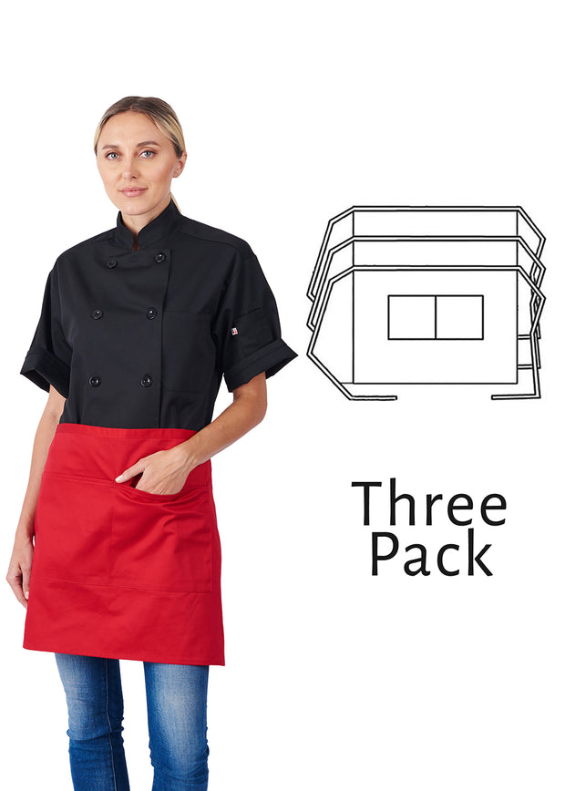 HiLite 3 Pack 1/2 Bistro Apron - Two Pockets - Waiter Waitress Chef  Unisex - 930