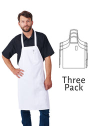 HiLite 3 Pack Fixed Neck Economy Bib Apron - Pencil Pocket - Wrinkle Resistant Unisex - 811