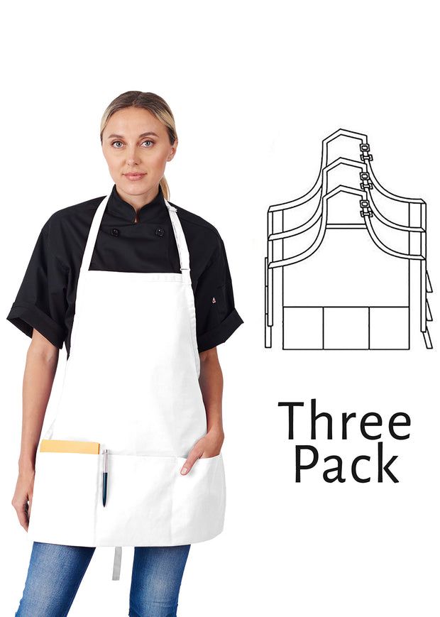 ITEM: 833P3A, Adjustable 3/4 Bib Apron, Three Fold-Up Pockets, 3 Pack
