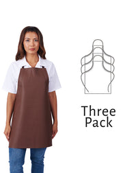 Hilite 3 Pack Heavy Duty Adjustable PVC Vinyl Bib Apron - Brown - 855A