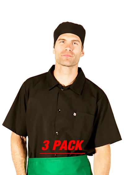 HiLite 3 Pack Cook Shirt - Multi Purpose Utility Shirt , Short Sleeve - Black 440BK