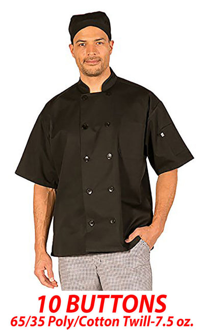 HiLite 3 Pack Classic Chef Coat Short Sleeve - Black 530BK