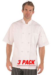 HiLite 3 Pack Classic Chef Coat Short Sleeve - White 540WH
