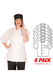 HiLite 6 Pack Classic Chef Coat Short Sleeve - White 540WH