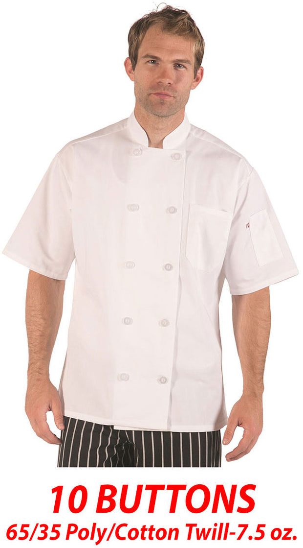 ITEM: 540WH, Classic Chef Coat Short Sleeve-White, 3 Pack