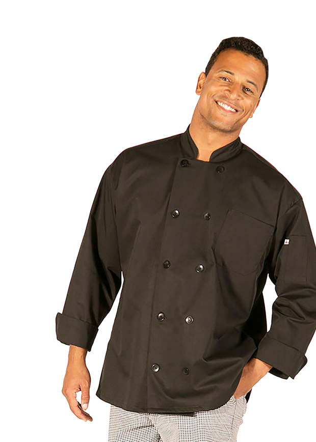 Hilite 3 Pack Classic Chef Coat Long Sleeve - Black 560BK