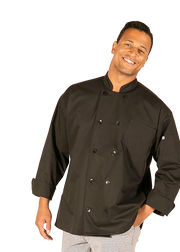 Hilite 6 Pack Classic Chef Coat Long Sleeve - Black 560BK