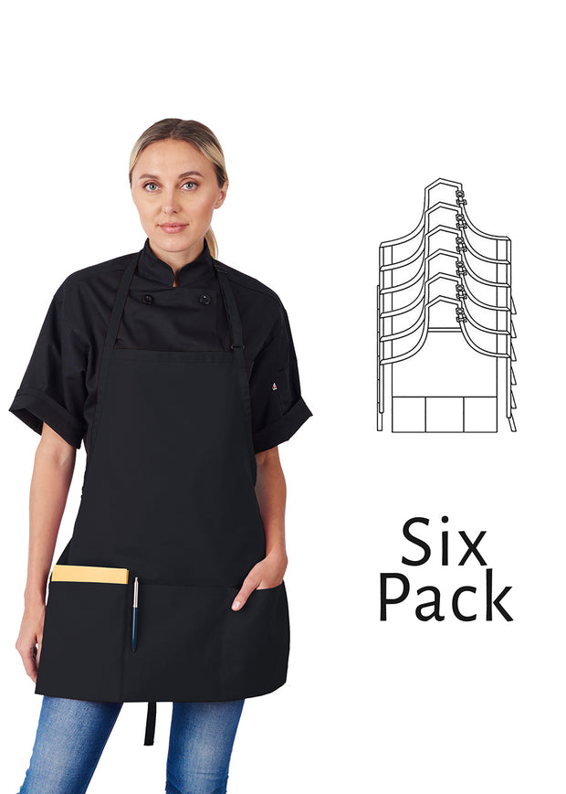 HiLite 6 Pack Adjustable Neck Three Pockets Bib Apron Wrinkle Resistant Unisex - 833P3A