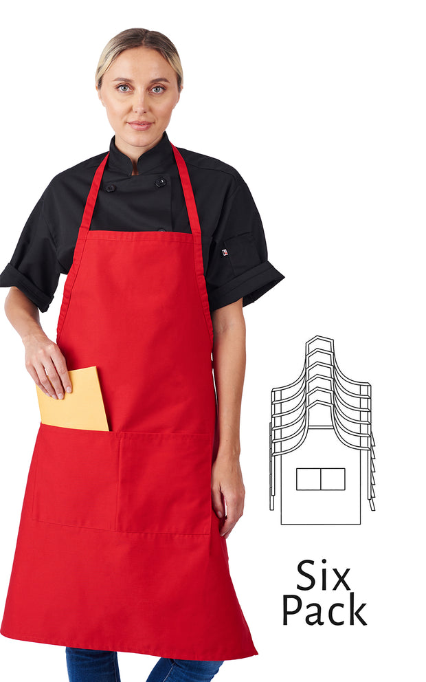 HiLite 6 Pack Fixed Neck Extra Long Bib Apron - Two Pockets - Wrinkle Resistant Unisex - 800
