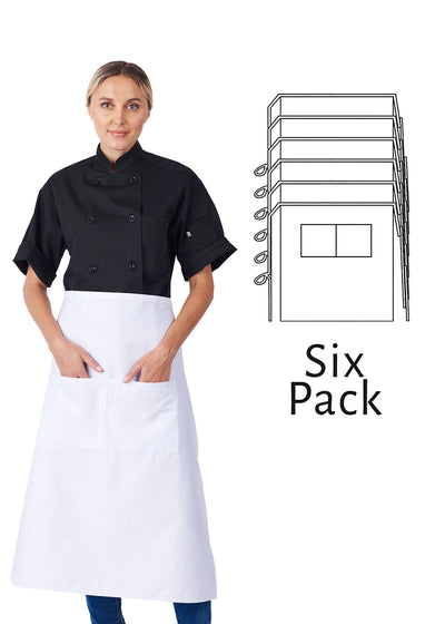 HiLite 6 Pack Bistro Apron - Two Pockets - Waiter Waitress Chef Unisex - 920