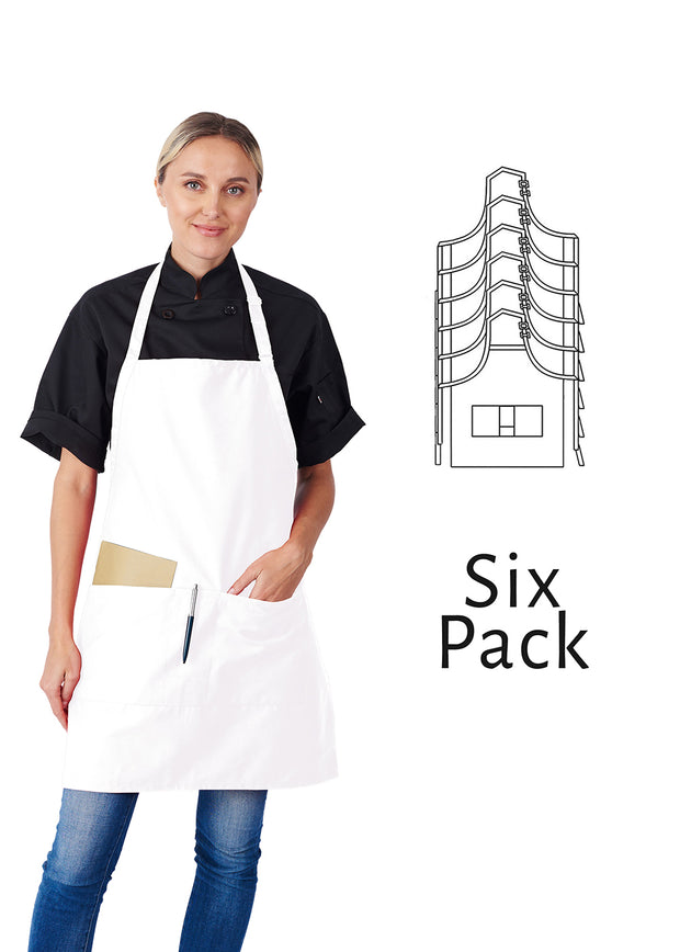 HiLite 6 Pack Adjustable Neck Three Pockets Bib Apron - Wrinkle Resistant Unisex - 822P3A