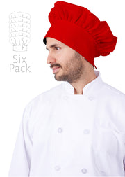 "HiLite 6 Pack Master Chef Mushroom Hat - Adjustable Velcro Closure - One Size Fit Most - 13"" Tall 110"