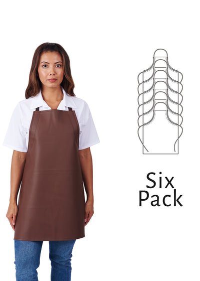 ITEM: 855A, Adjustable Heavy Duty Leather Look Vinyl Bib Apron, Waterproof, 6 Pack