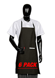 ITEM: 800, Fixed Neck, Extra Long Bib Apron, 2 Pockets, 6 Pack