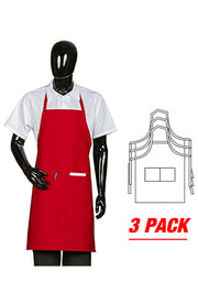 ITEM: 800, Fixed Neck, Extra Long Bib Apron, 2 Pockets, 3 Pack