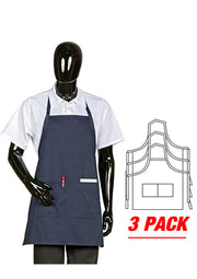 ITEM: 822P2, Fixed Neck Bib Apron, Two Pockets, 3 Pack