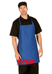 ITEM: 822P3A, Adjustable Neck Bib Apron, Three Center Pockets, 6 Pack