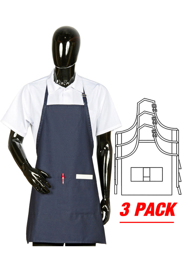 HiLite 3 Pack Adjustable Neck Three Pockets Bib Apron - Wrinkle Resistant Unisex - 822P3A