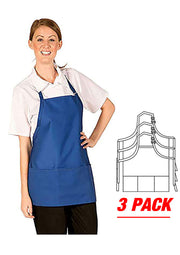 HiLite 3 Pack Adjustable Neck Three Pockets Bib Apron Wrinkle Resistant Unisex - 833P3A