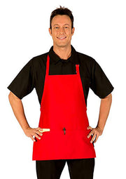 ITEM: 833P3A, Adjustable 3/4 Bib Apron, Three Fold-Up Pockets, 6 Pack