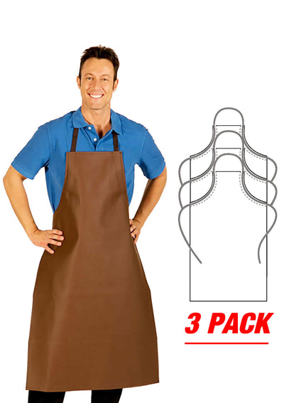 HiLite 3 Pack Heavy Duty Extra Long Adjustable PVC Vinyl Bib Apron - Brown - 855XLA