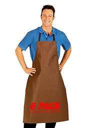 HiLite 6 Pack Heavy Duty Extra Long Adjustable PVC Vinyl Bib Apron - Brown - 855XLA