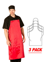 ITEM: 866A, Adjustable Heavy Duty PVC Coated Nylon, Waterproof All Purpose Bib Apron, 3 Pack