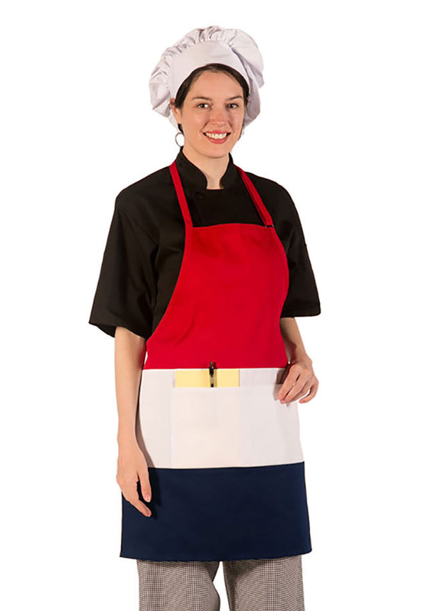 ITEM: 877, Adjustable Neck Tri-Color Apron, Two Center Pockets, 6 Pack